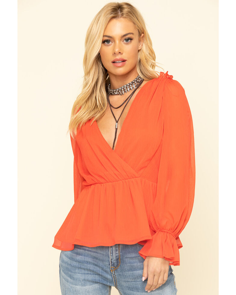 Flying Tomato Women's Red Chiffon Surplice Long Sleeve Top, Red, hi-res