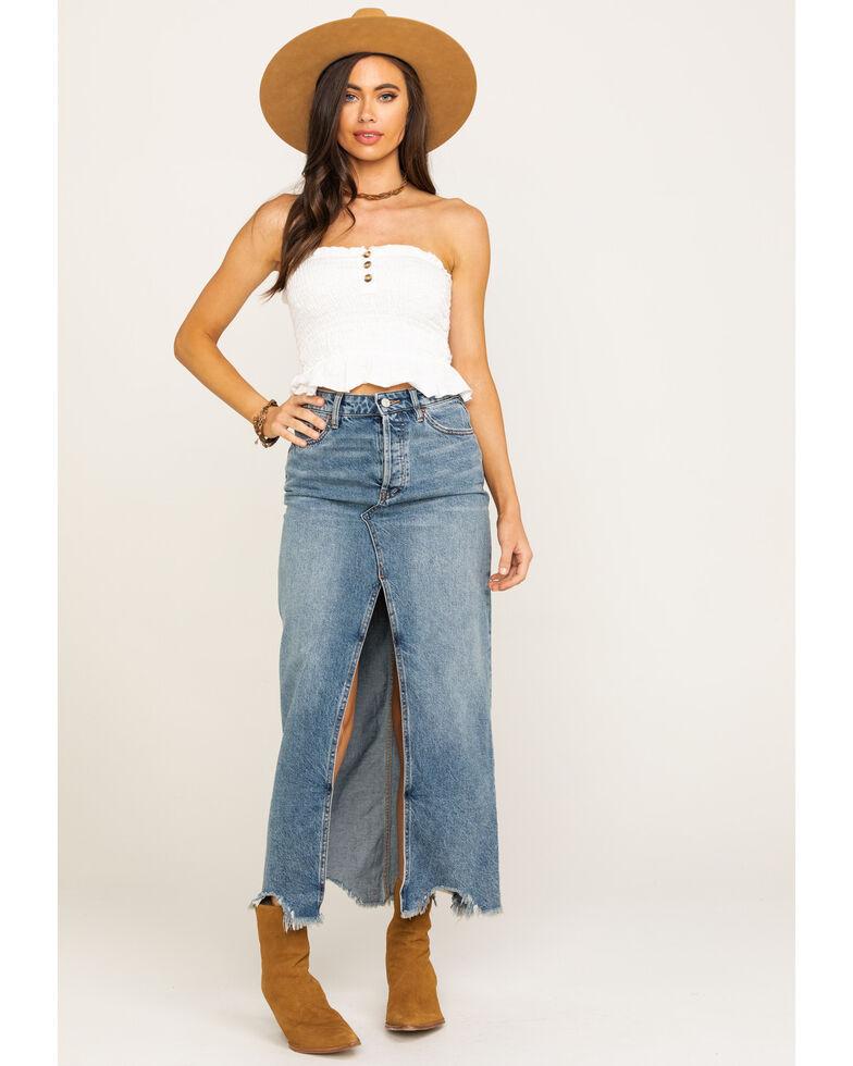 Free People Women's Rhiannon Denim Maxi Skirt, Blue, hi-res