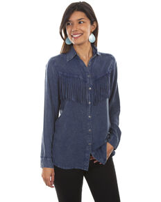 Honey Creek by Scully Women's Fringe Long Sleeve Button Denim Blouse , Blue, hi-res