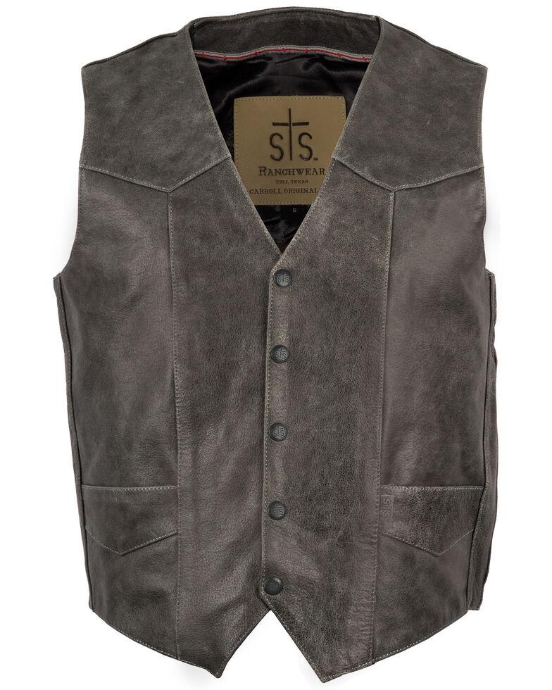 STS Ranchwear Men's Black Gunsmoke Antique Leather Chisum Vest , Black, hi-res