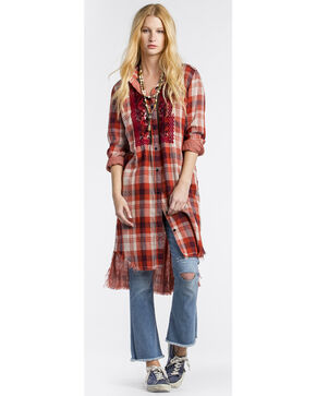 MM Vintage Women's Red Embroidered Plaid Shirt Dress , Red, hi-res