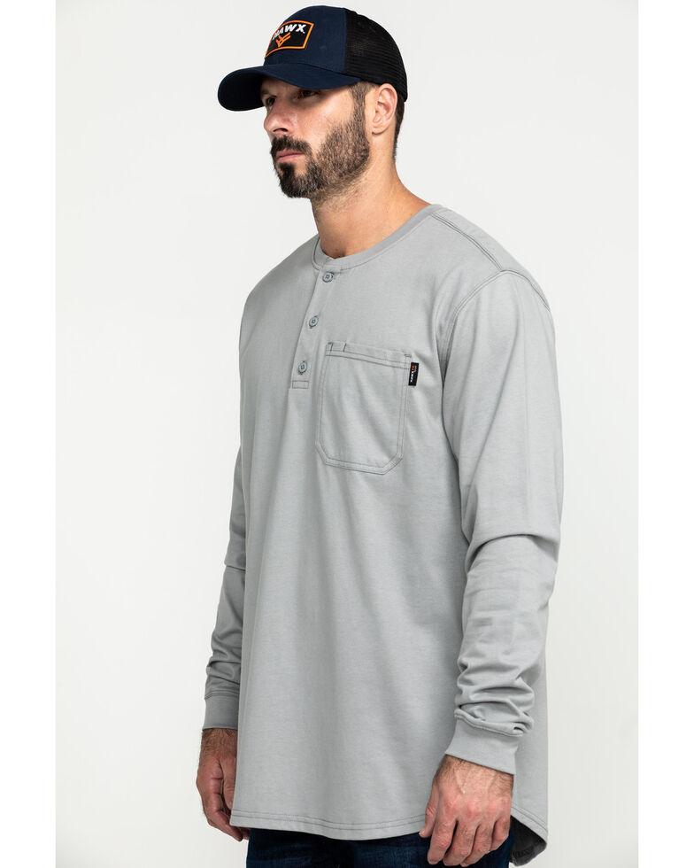 Hawx Men's Men's Grey FR Pocket Henley Long Sleeve Work Shirt, Silver, hi-res