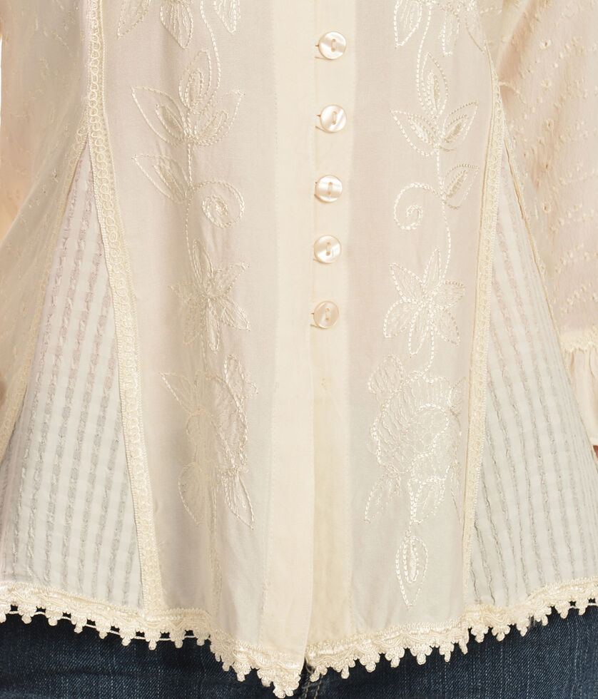 Scully Floral Embroidered Ruffled Sleeve Top, Ivory, hi-res