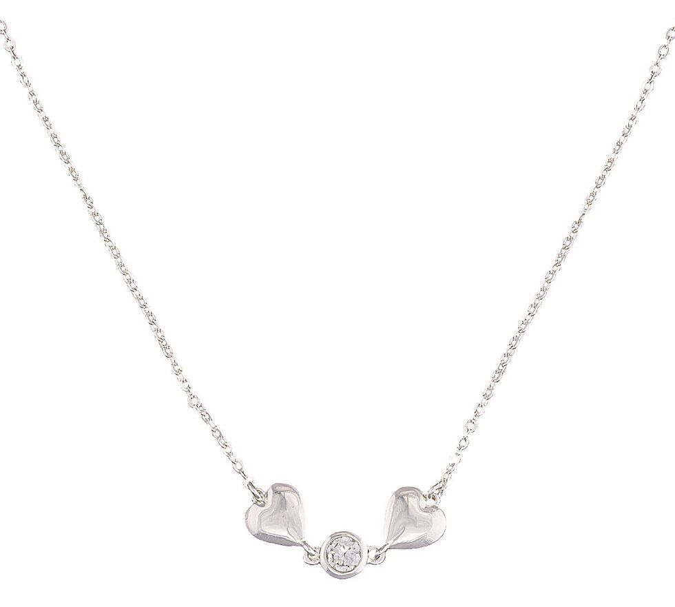 Montana Silversmiths Two Hearts & Rhinestone Necklace, Silver, hi-res