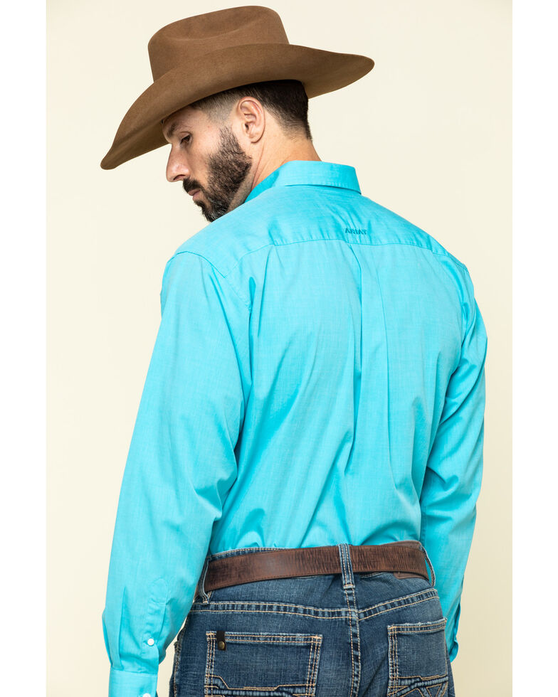 Ariat Men's Wrinkle Free Blue Oxford Solid Short Sleeve Western Shirt , Blue, hi-res