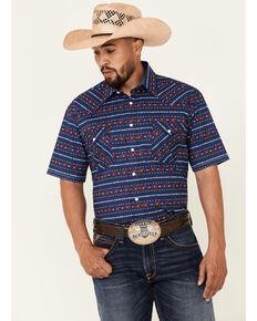 Rough Stock By Panhandle Men's Indigo Aztec Stripe Short Sleeve Snap Western Shirt , Indigo, hi-res
