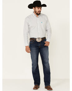 George Strait By Wrangler Men's White Small Check Plaid Long Sleeve Western Shirt , White, hi-res
