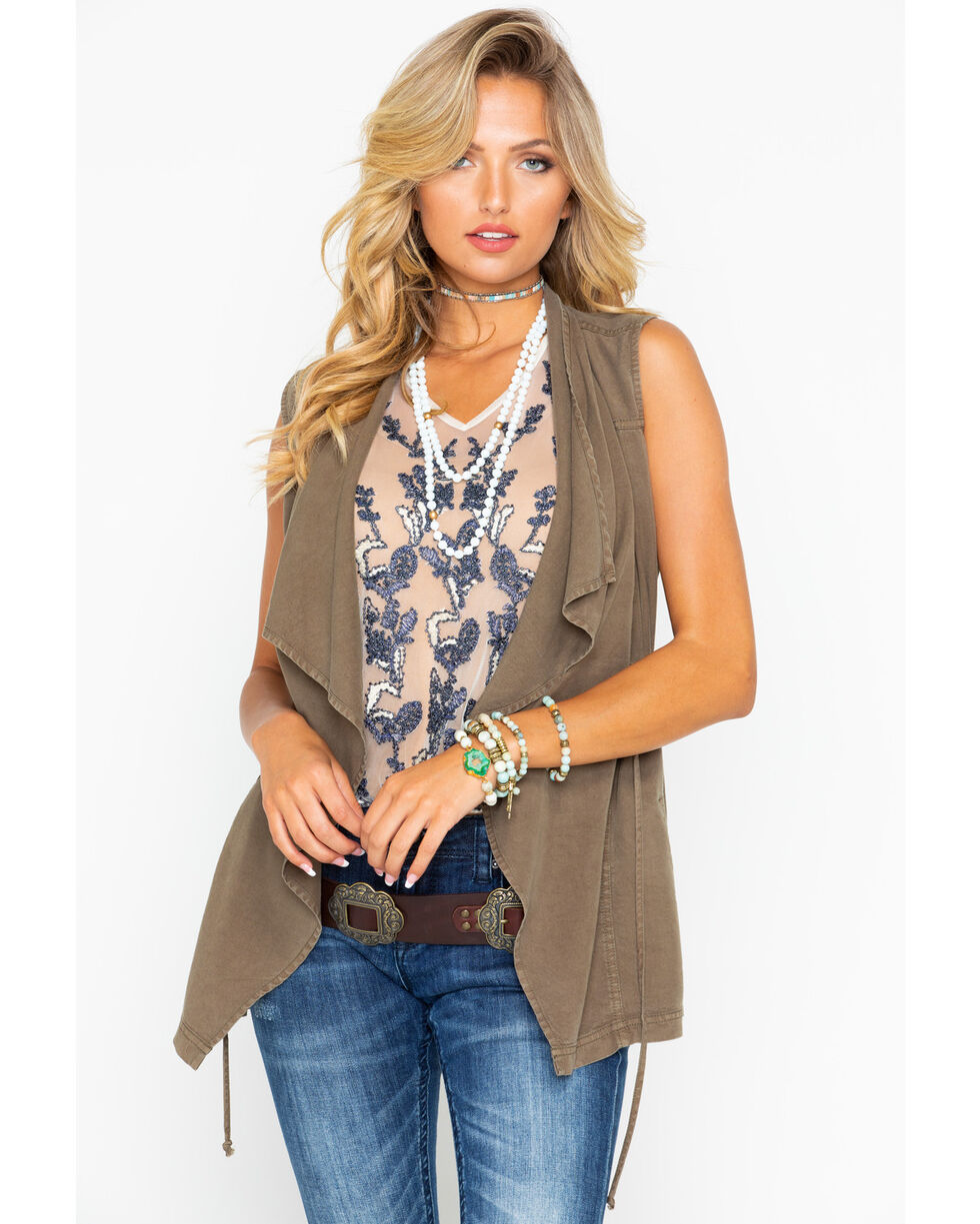 Rock and Roll Cowgirl Drawstring Cascade Front Vest , Olive, hi-res