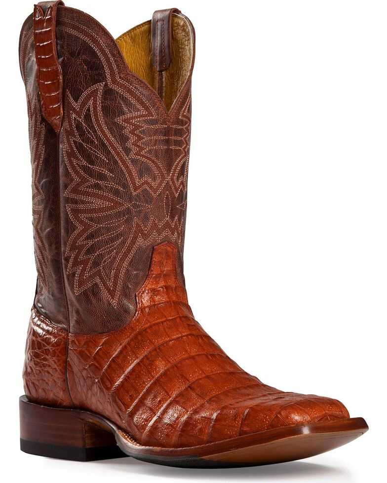 Cinch Classic Caiman Belly Cowgirl Boots - Square Toe, Cognac, hi-res