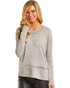 Rock & Roll Cowgirl Women's Grey Dot Lace Trim Top , Heather Grey, hi-res