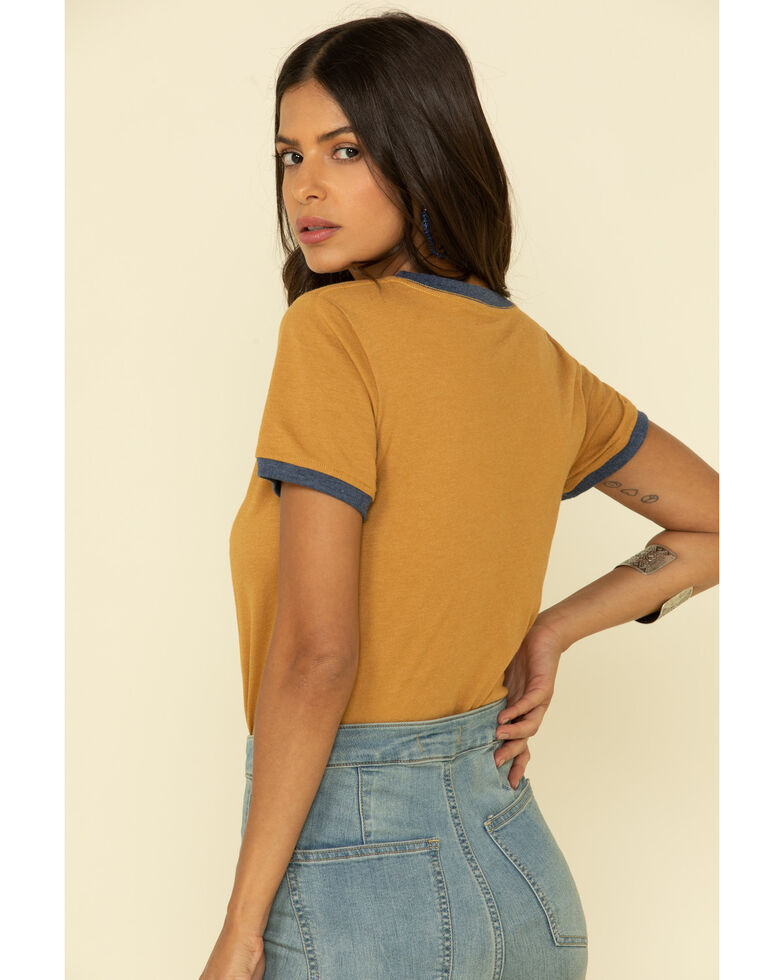 Rock & Roll Denim Women's Mustard Dixieland Delight Ringer Tee, Mustard, hi-res