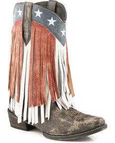 Roper Women's American Beauty Fringe Cowgirl Boots - Snip Toe, Brown, hi-res