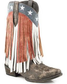 Roper Women's American Beauty Fringe Cowgirl Boots - Snip Toe, Brown, hi-res
