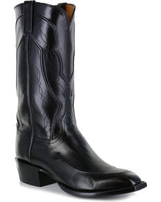 27a9d48c00d Lucchese Men s Handmade Black Kangaroo Leather Western Boots - Square Toe