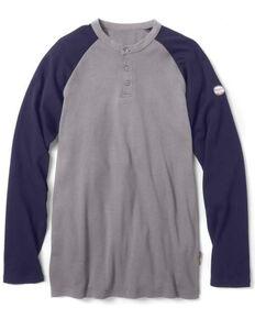 Rasco Men's Flame Reisistant Multi Two Tone Henley Long Sleeve Work Shirt , Multi, hi-res