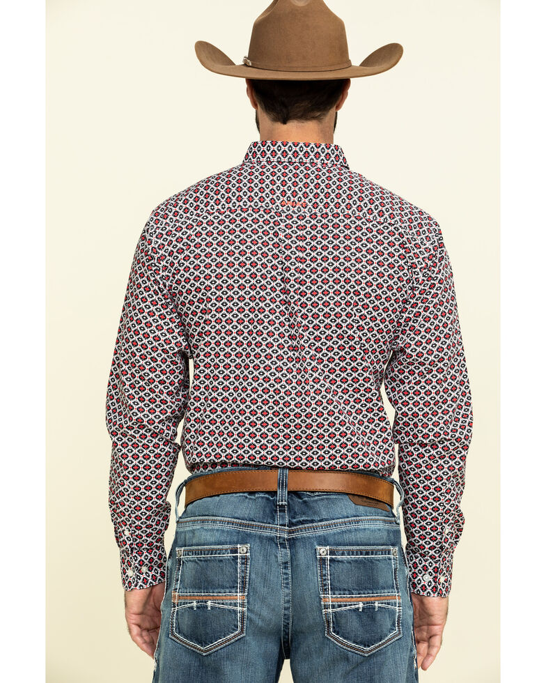 Ariat Men's Illton Fitted Aztec Geo Print Long Sleeve Western Shirt , White, hi-res