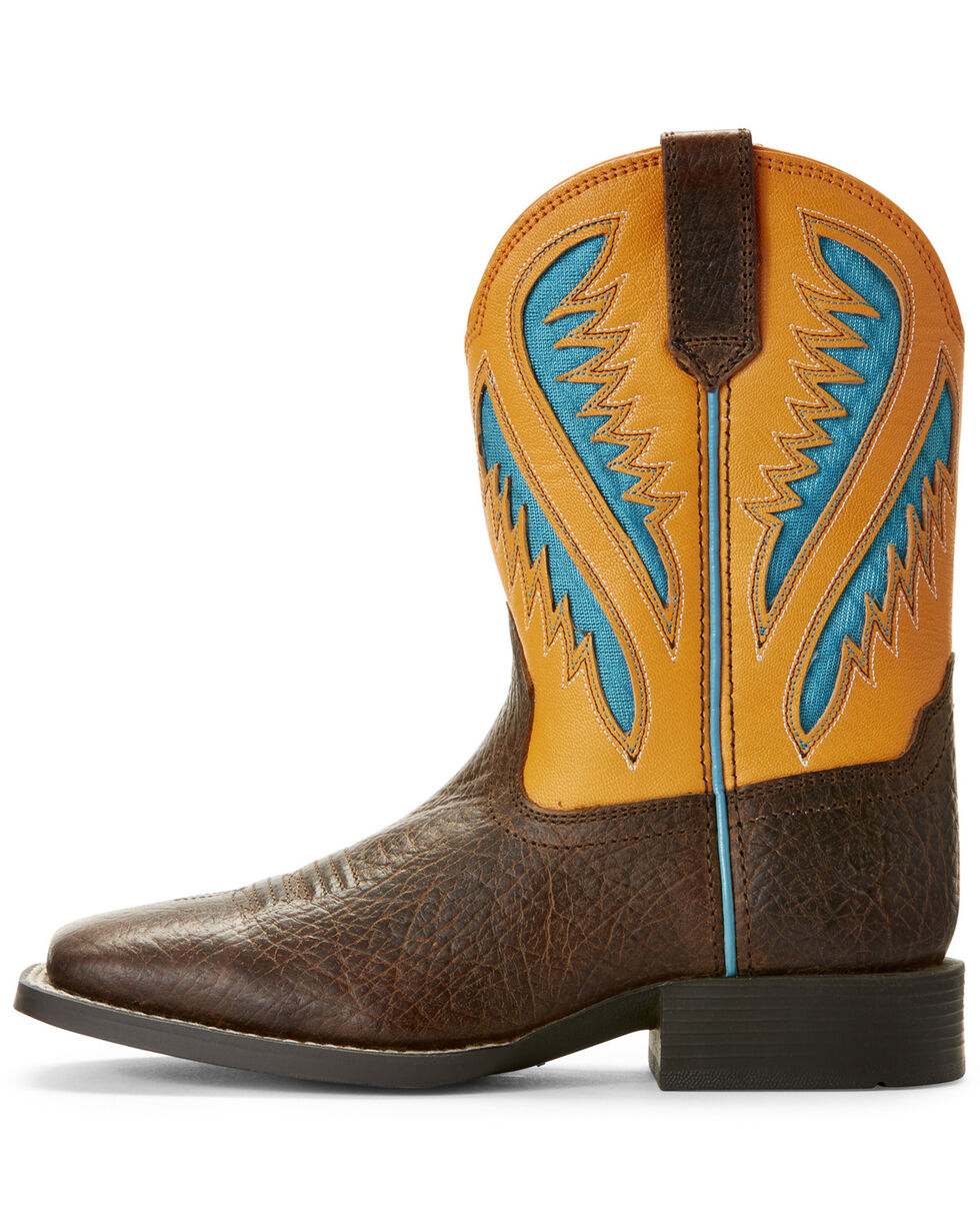 Ariat Youth Boys' VentTek Quickdraw Flame Western Boots - Wide Square Toe, Chocolate, hi-res