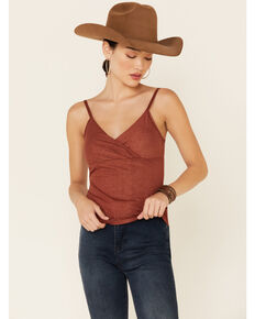 Shyanne Women's Rust Twist Front Foil Cami Tank Top , Rust Copper, hi-res
