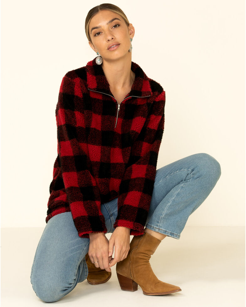 Peach Love Women's Red Buffalo Plaid Sherpa 1/4 Zip Pullover , Red, hi-res