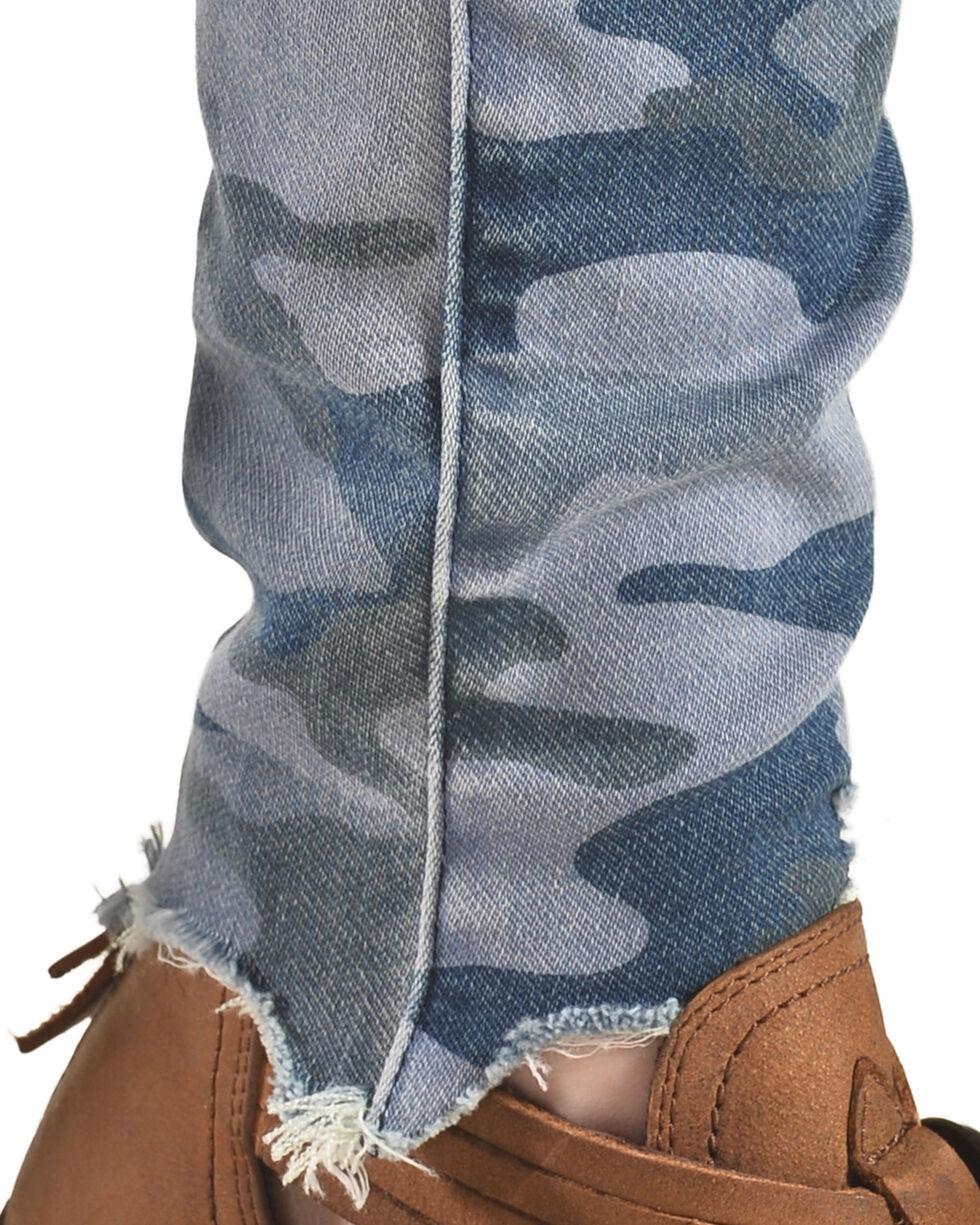 Tractr Women's High Rise Camo Skinny Jeans , Indigo, hi-res
