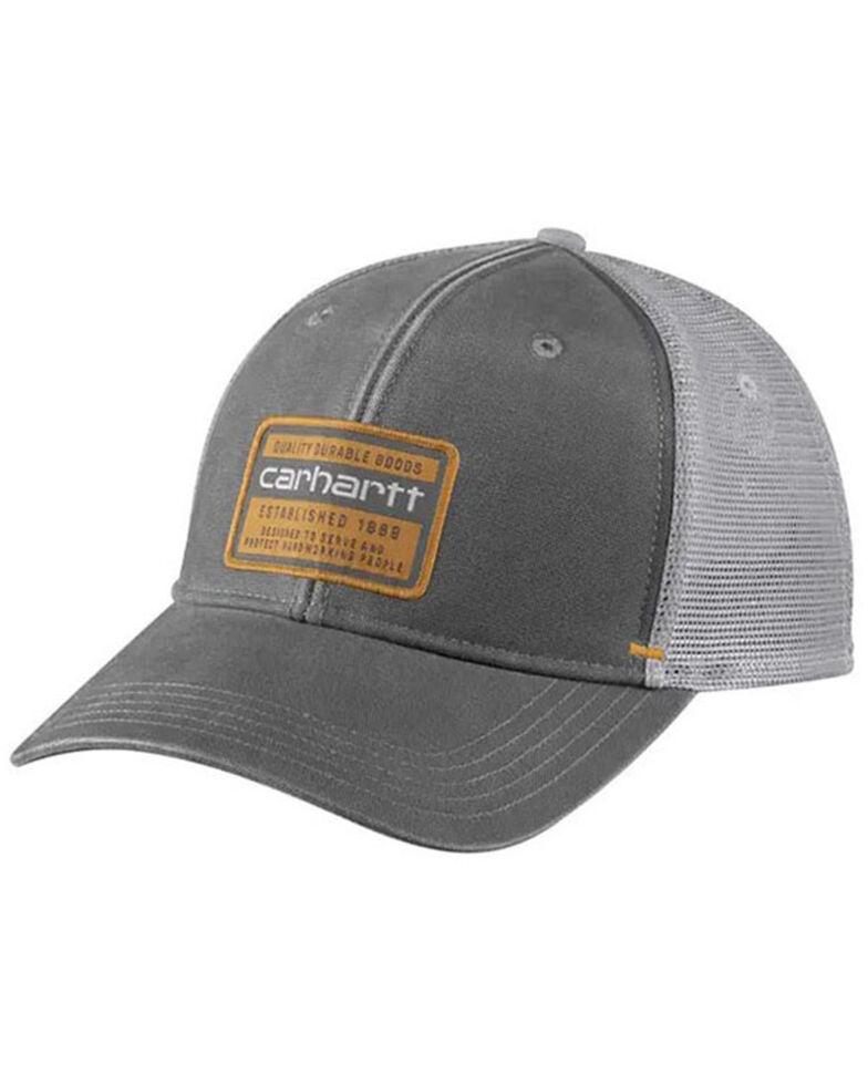 Carhartt Men's Quality Goods Logo Patch Canvas Mesh-Back Trucker Cap , , hi-res