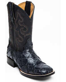 Cody James Men's Black Flat Pirarucu Western Boots - Narrow Square Toe, Black, hi-res
