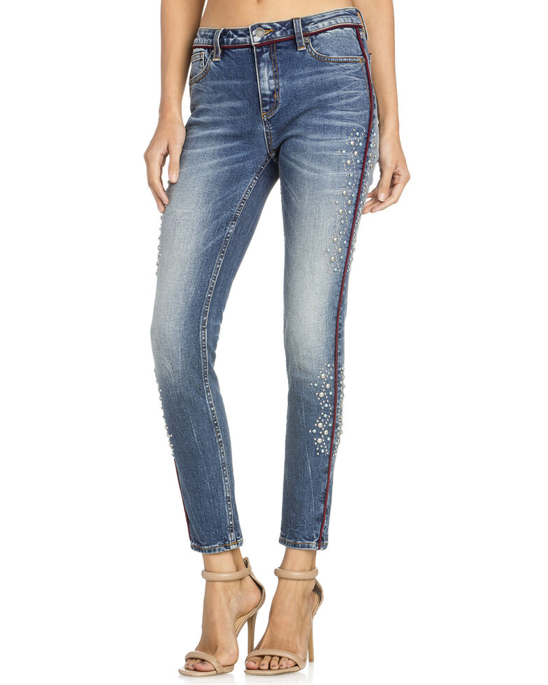 Miss Me Women's Pearl Pipe Ankle Skinny Jeans , Indigo, hi-res