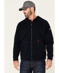 Ariat Men's FR Navy Primo Fleece Alloy Flag Graphic Zip-Front Hooded Work Sweatshirt , Navy, hi-res