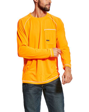 Ariat Men's Orange Rebar Sunstopper Long Sleeve Work Shirt - Tall , Orange, hi-res