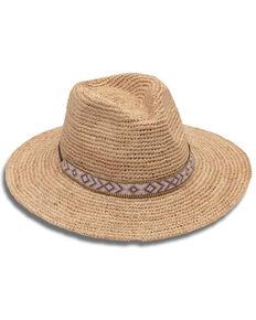 Nikki Beach Women's Hailey Natural Raffia Straw Western Fedora Hat , Natural, hi-res