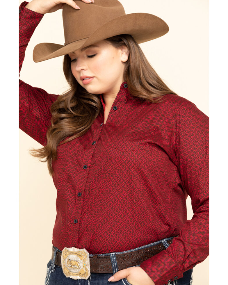 Ariat Women's Kirby Geo Print Scarlet Stretch Shirt - Plus, Red, hi-res