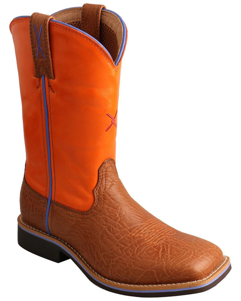 "Twisted X Boys' 9"" Orange & Tan Western Work Boots - Narrow Square, Tan, hi-res"
