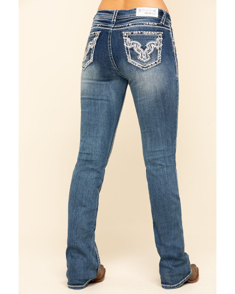 Grace in LA Women's Medium Wash Bull Embroidered Bootcut Jeans , Blue, hi-res