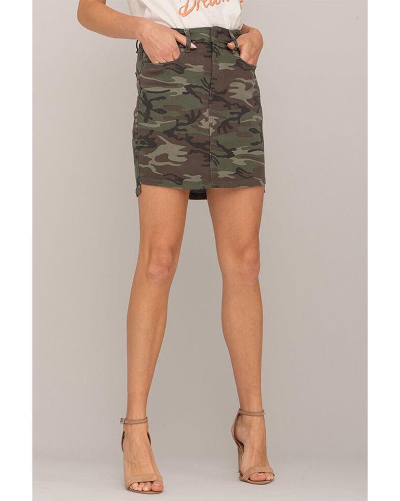 Miss Me Women's Camo Mini Skirt, Camouflage, hi-res