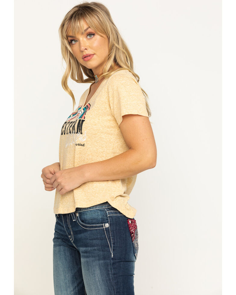 Ariat Women's Mustard Western Vibes V-Neck Graphic Tee, Dark Yellow, hi-res