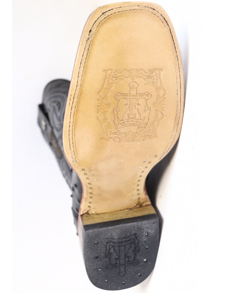 Tanner Mark Men's Black Ostrich Print Western Boots - Square Toe, Black, hi-res
