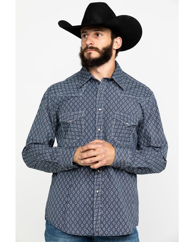 Rock & Roll Denim Men's Crinkle Diamond Geo Print Long Sleeve Western Shirt , Navy, hi-res