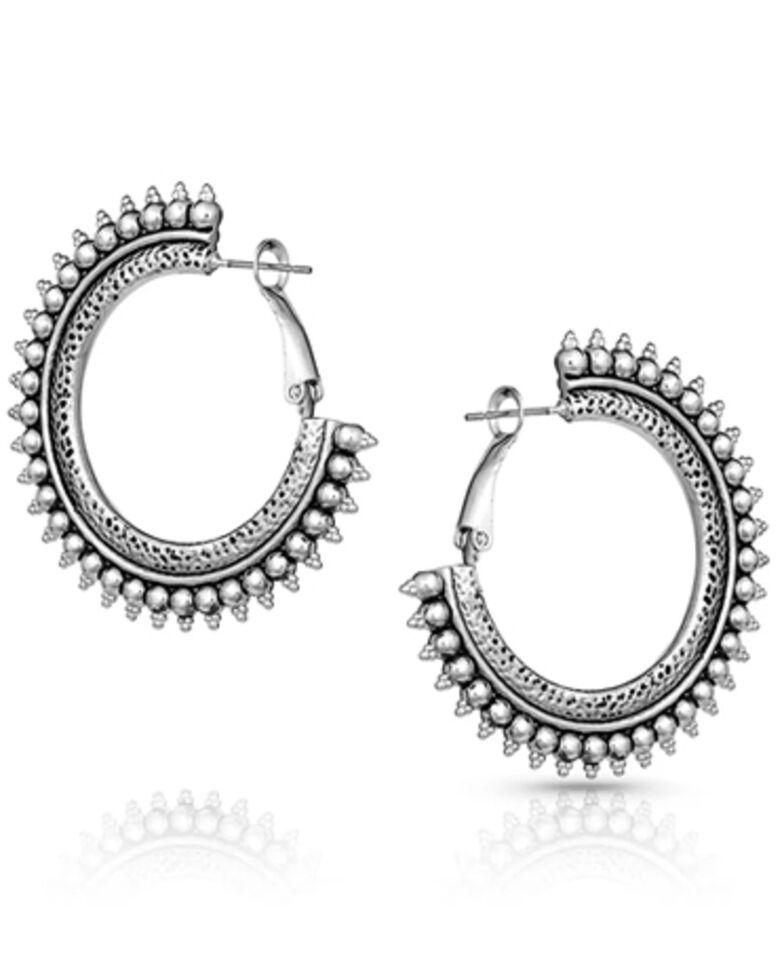 Montana Silversmiths Women's Sun Ray Hoop Earrings, Silver, hi-res
