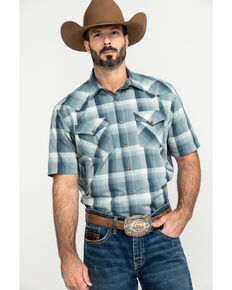 Pendleton Men's Blue Frontier Plaid Short Sleeve Western Shirt , Blue, hi-res