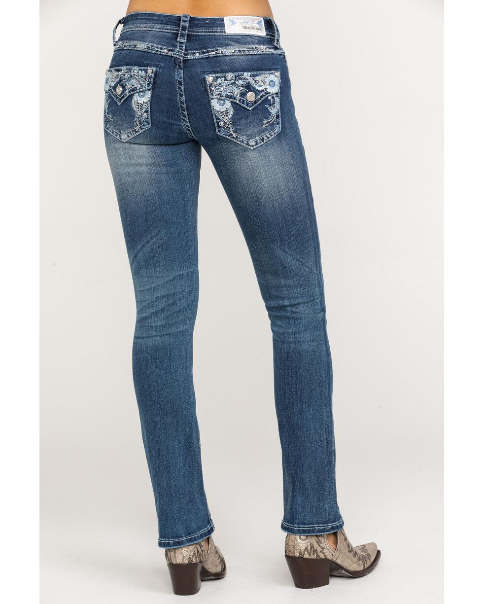 Grace in LA Women's Medium Low Floral Bootcut Jeans , Blue, hi-res