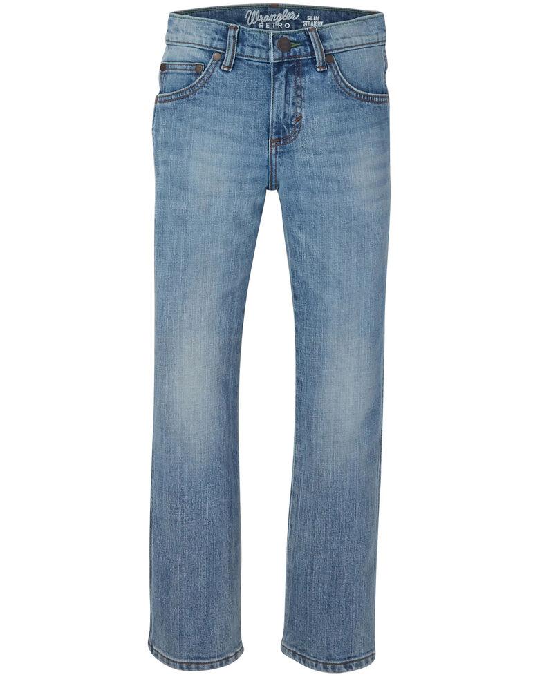 Wrangler Retro Boys' Jacksboro Stretch Slim Straight Jeans , Blue, hi-res
