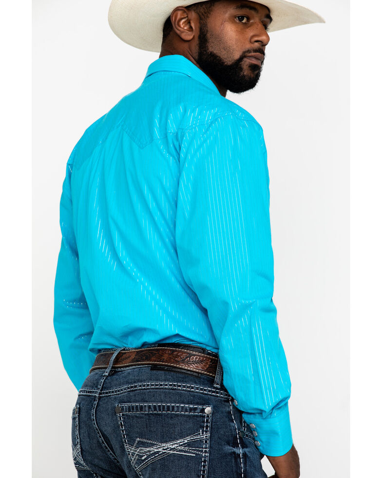 Resistol Men's Turquoise Sam Striped Long Sleeve Western Shirt , Turquoise, hi-res