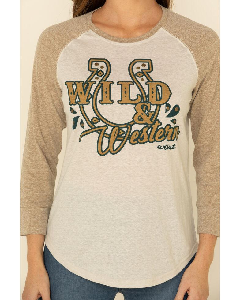 Ariat Women's Wild & Western Graphic Raglan Tee, Mustard, hi-res