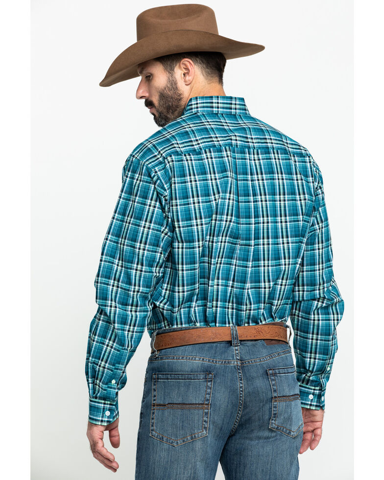 Cinch Men's Teal Large Plaid Long Sleeve Western Shirt , Teal, hi-res