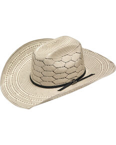 Ariat Men's 20X Straw Two-Tone Vented Crown Cowboy Hat, Ivory, hi-res