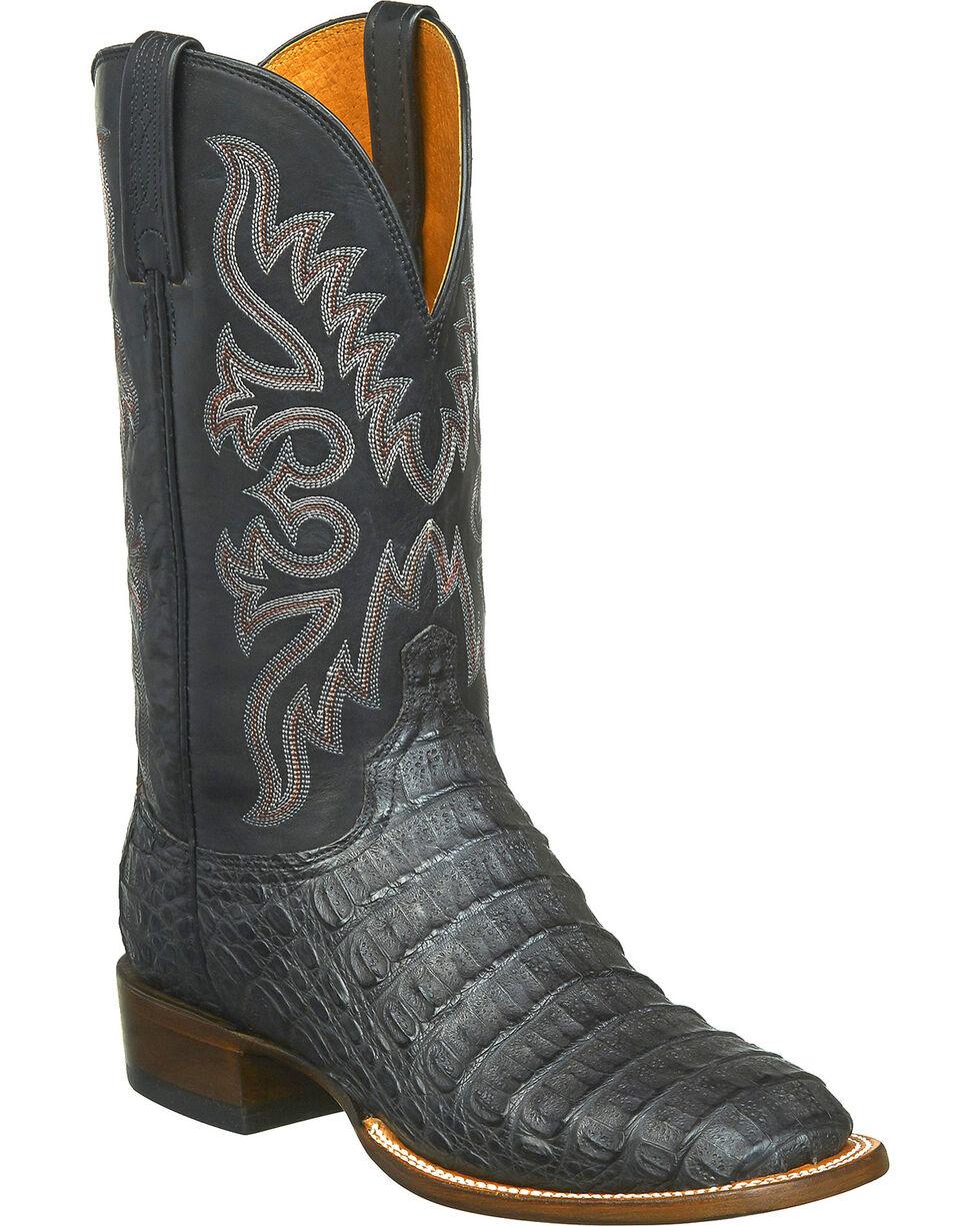 Lucchese Men's Handmade Fisher Hornback Caiman Leather Horseman Boots - Square Toe, Black, hi-res