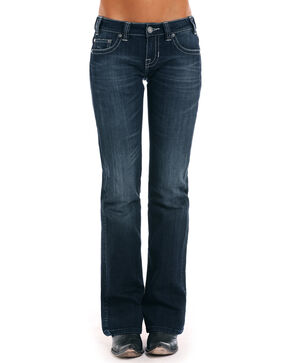 Rock & Roll Cowgirl Women's Silver Lurex Jeans, Indigo, hi-res