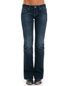 Rock & Roll Cowgirl Women's Silver Lurex Jeans, Indigo, hi-res