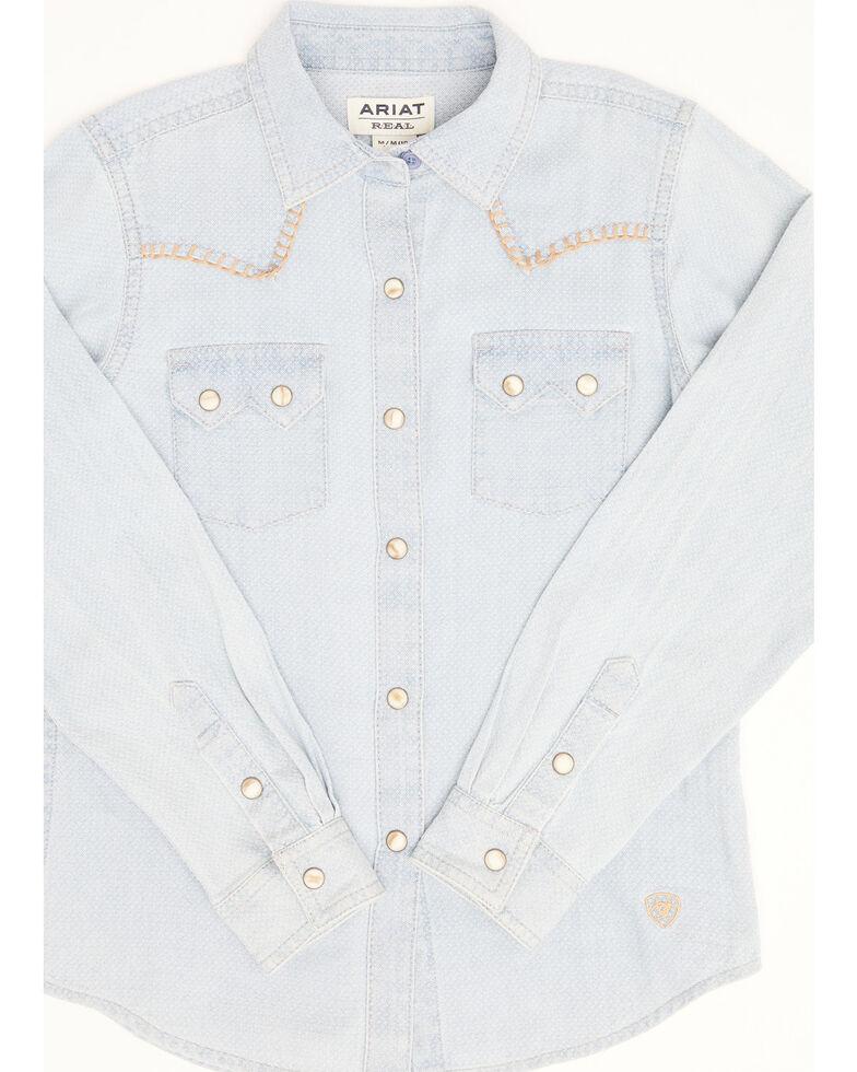 Ariat Girls' R.E.A.L Kind Diamond Chambray Print Long Sleeve Western Core Shirt , Blue, hi-res