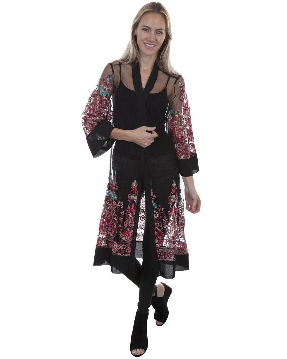 Honey Creek by Scully Mesh Multi Color Embroidered Duster , Black, hi-res
